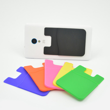 Elastic silica gel Cell Phone Wallet Case Credit ID Card Holder Pocket Stick On 3M Adhesive Black/Blue/Pink/Green/Yellow