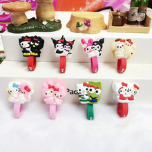10pcs/lot Cartoon Hello Kitty Headphone Earphone Cable Wire Organizer Cord Holder USB Charger Cable Winder For iphone samsung