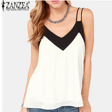 Buy Zanzea 2016 Summer Style Sexy Women Blusas Sleeveless Halter Blouses Casual Vest Loose Chiffon Blouse V Neck Tank Tops Plus Size