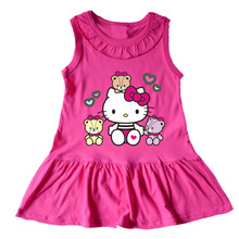 2016 Summer Little Girls Princess Hello kitty Dress Sleeveless Baby Girl cotton Tutu Dresses Kids Cartoon Sundress for Girls