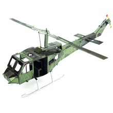 Colorful Bell Uh-1 Iroquois Helicopter Airplane Fun 3D Metal DIY Miniature Model Kits Puzzle Toys Children Boy Splicing Hobby
