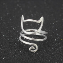 925 sterling silver wire winding cute cat adjustable ring for girl women party gift elegant rings jewelry dropship(China)