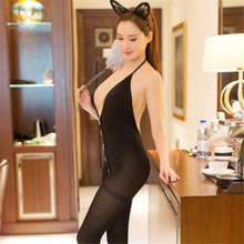 Buy open bra transparent halter Backless zipper Silk stockings babydoll body sexy costumes catsuit bodystocking open crotch lingerie