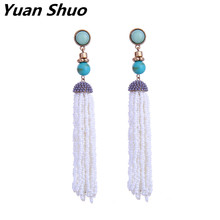 2017 Multicolor beads tassel earrings Europe United States trendy fashion earrings texture synthetic gem long ladies earrings(China)
