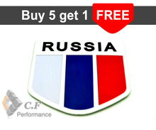 Rhino Tuning RUSSIA Flag Aluminum Shield Car Emblem Cheap Sticker Russian Flag Auto Badge Decal 598(China)