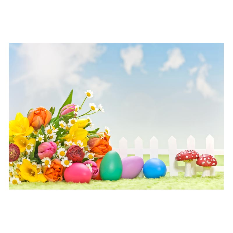 2.2MX1.5M For taking pictures there are beautiful flowers and colorful eggs happy Easter printed vinyl background GE-145<br><br>Aliexpress
