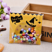 New 100 Pcs Plastic Clear DIY Candy Cookies Birthday Party Craft Bags Halloween Yellow pumpkin Gifts Bags Packaging Bags