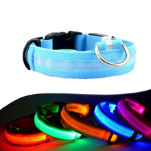 Night Safety LED Dogs Collar,Nylon Lights Flashing Glow In Dark Electric Pet Coolars,7Colors Pet Supplies Dog Cat Leash(China)