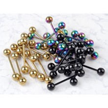 1PC /3 Color Fashion Design Body Jewelry Gold Black Colorful Stainless Steel Ball Barbell Bars Tongue Piercing Jewelry Rings