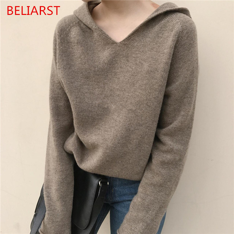 BELIARST Spring and Autumn New Loose Knit Pullover Hooded  Women Cashmere Sweater Solid Color Hooded Wool Sweater Coat
