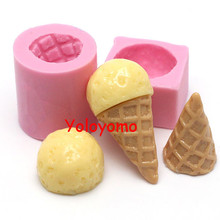 Free shipping X062YL/X063YL One Set 2Pcs Molds 3D Ice Cream Cone Mold and Cream Mold Cake Decorating Fondant Resin Polymer Clay