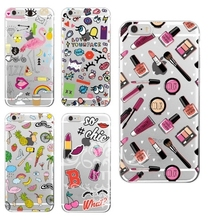 0910 Girly MakeUp Lips Big Eyes Pineapple Secret Unicorn Rainbow Flamingo Soft cell phone bags case cover for iphone 4S 5S 5C SE