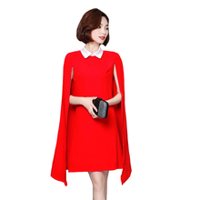 New Arrival Summer Cloak Dress Women Sleeveless Solid Causal Fashion Slim wrap Black Red Dresses L7517(China)