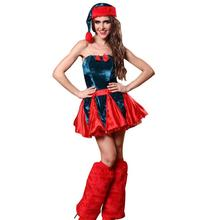 Lovely Miss Red Christmas Corset Costumes Fashion Casual Xmas Santa Costume Party Dress For Ladies Girl Y4(China)