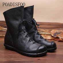 POADISFOO Genuine Leather Hand made Women 2017 winter women Boots Western boots boots Round Toe Boots woman Shoes .ZXW-1806(China)