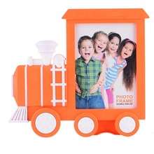 New Arrival !!1Pcs Creative 7 inch Children's Photo Frame Locomotive Train The car head Cute PVC Photo Frame Home Decor 3 Colors