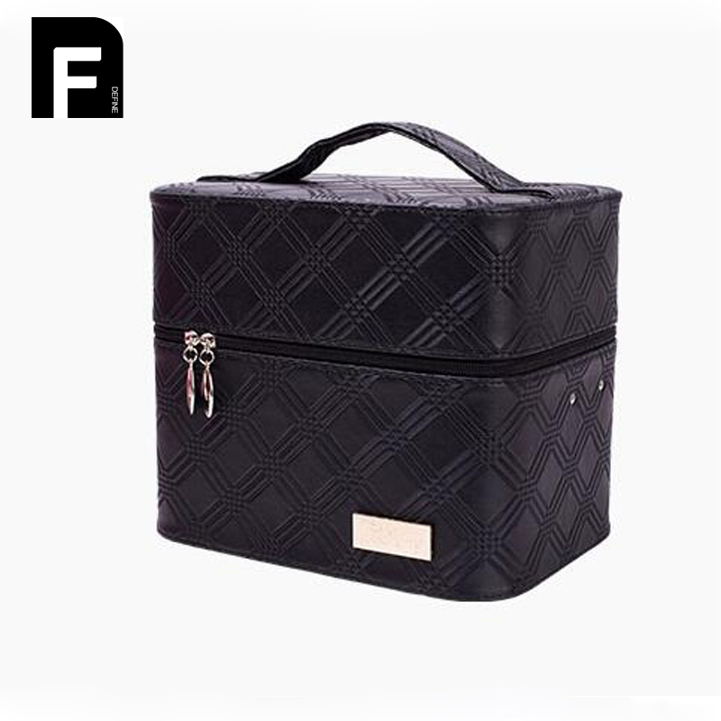 Professional Makeup Organizer Box Cosmetic Case Large Capacity Cosmetic Storage Bag Travel Organizer Make Up Case Toiletry Boxes<br>