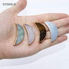 Wholesale Crescent Shape Natural 4 Color 40 MM Natural Stone Pendant Necklace Diy Women Fit For The Manufacture Of Jewellery
