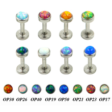 Stainless Steel Internally Thread Opal Stone Labret Lip Piercing Stud Ring Body Jewelry Retainers 16g(China)