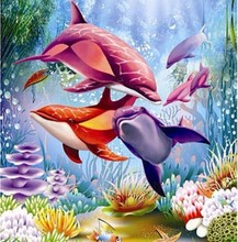 Full round Drill Diamond Painting Cross Stitch Dolphin family 5D Diamond Mosaic Embroidery Canvas Home Decoration Painting LG693