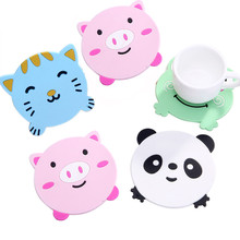 1PC Animal Pattern Silicone Cup Drinks Holder Mat Tableware Placemat heat resistant coaster Pig/kitty/panda/ frog design sale