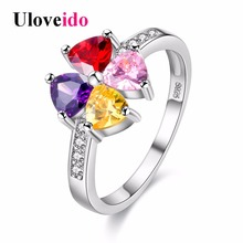 Buy Uloveido Rainbow Women's Rings Stones Silver Color Wedding Jewelry Female Ring Bague Femme Bijoux Flower Charms Anel Y026 for $2.91 in AliExpress store
