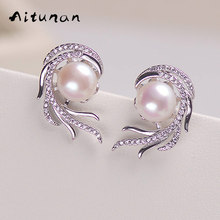 Aitunan Luxury Crystal Pearl Earrings Phoenix inlaid zircon Freshwater Natural Pearl Stud Earrings Genuine Pearl Jewelry(China)