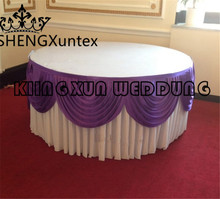 Hot Sale Round Size White Color Ice Silk Table Skirt \ Table Cloth Skirting Include Swag Drape Free Shipping(China)