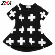 ZIKA Ins Baby Girls Dresses Punk Cross Print Summer Girl Dress Black Toddler Girls Dress For12M-3T Casual Children Girls Clothes(China)