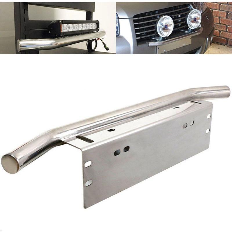 JXLCLYL Car Bull Bar Front Bumper License Plate Mount Bracket Light Holder Chrome