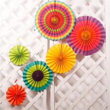 6pcs Paper Fan Rosettes Backdrop Paper Pinwheel Garland Party Fans Paper Medallions for Wedding Birthday Shower Everyday Decor
