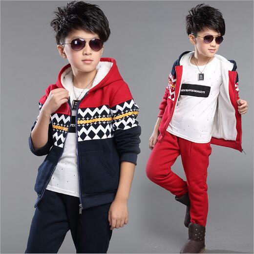 Boys Clothes Winter Children Clothing Set Warm Velvet Suit Kids Tracksuit Hooded Sweatshirt+Pants Boys Costumes Sports Set<br>