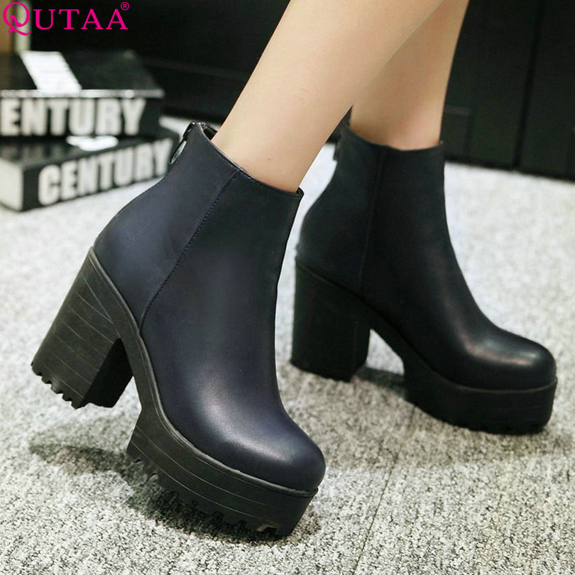 QUTAA Zipper Burgundy Punk PU leather Retro Square High Heel Ankle Boots Round Toe Solid Women Motorcycle Boots Size 34-43<br><br>Aliexpress