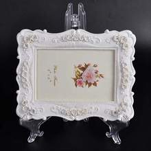 "Clear 7"" Display Easel Stand Plate Bowl Picture Frame Pedestal Holder New"