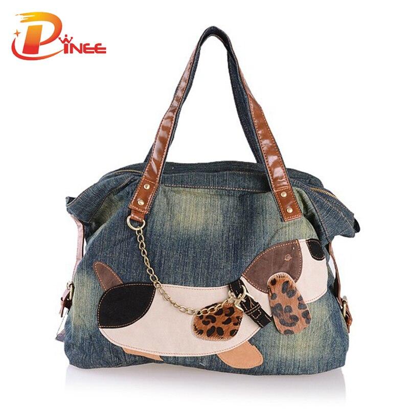 Casual Lovely Dog Trendy Design Denim Women Bag  Handbags Jeans Women Shoulder Bags Womens Tote Bags<br>