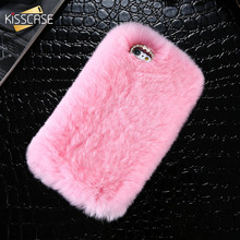 KISSCASE Rhinestone Bling Fluffy Rabbit Hair Case For iPhone 6 6S Smooth Touch Winter Fur Cover For 6 Plus 6S Plus