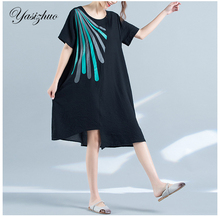 New Arrived Women  Linen Causual Loose Dress Vintage Plus Size Black Ice Silk Linen Casual Summer Brand Design Dresses