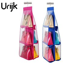 Urijk 1Pc 6 Pockets Hanging Storage Bag Purse Handbag Tote Bag shoes Storage Organizer Rack Hangers Storage Accessories(China)