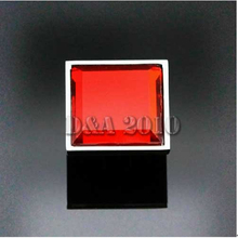 Modern Square Crystal Glass Red Cabinet Cupboard Door Drawer Pull Handle Knob