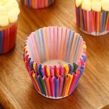 100pcs/Lot Rainbow Color Paper Cupcake Mold Muffin Cupcake Paper Cups Tray Baking Decorating Tools Pastry Molds Bakeware
