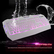 VENICO   high grade 2 Color rainbow light Gaming Keyboard Gamer LED Backlit USB 104 keys