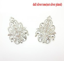 30Pcs Silver Tone Filigree Wraps Flower Connectors Metal Crafts Gift Decoration DIY Findings 4.8x3.5cm j0560(China)