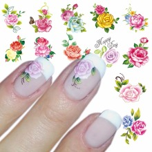 WUF 1 Sheet Optional Water Decal Nail Art Water Transfer Gothic Blooming Flower Sticker Stamping For Nails Art Stamp