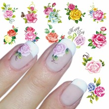 WUF 1 Sheet Optional Water Decal Nail Art Water Transfer Gothic Blooming Flower Sticker Stamping For Nails Art Stamp(China)