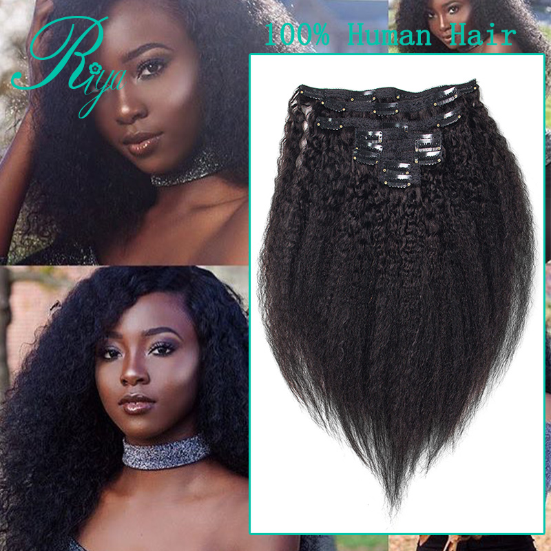 kinky straight clip in human hair extension (2)