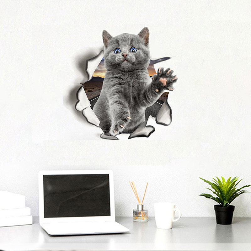 Cute cats dog 3D Wall Sticker for Living room children's room Home decoration art Decals mural kitten puppy Stickers wallpaper