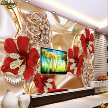beibehang Custom Photo Wallpaper Stereo Surfaces Mural 3d rich jewelry jewelry flowers TV backdrop wall paper papel de parede 3d(China)