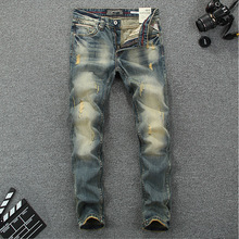 2016 New arrival mens jeans brand design printed jeans mens high quality slim straight pants ripped jeans for men 621