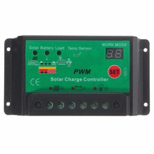 1X PWM LCD Solar Panel Battery Charge Controller Lamp Regulator Automatic 12V/24V 10A Switch Charger(China)