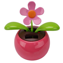 Bestselling Car Rose-red Cute Flip Flap Swing Solar Flower(China)